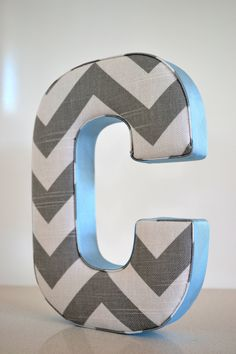Fabric Letter Personalised Initial Name Wall Hanging in Chevron Grey & Blue - Letter C. $20.00, via Etsy.