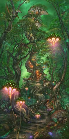 creature fantasy highres no_humans original plant scenery tree treehouse ucchiey