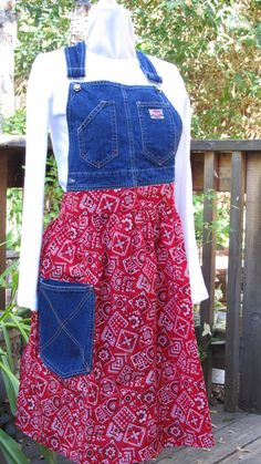 Recycled OVERALL Bib APRON Blue Denim bib by KaTerryTheSewSisters