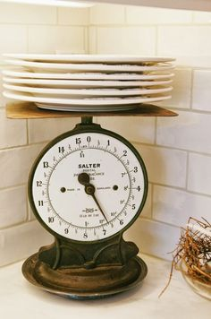 Shawna's Glamorous Custom Kitchen custom kitchens, vintage scales, flea market finds, flea markets, white dishes, subway tiles, antiqu, vintage life, vintage kitchen