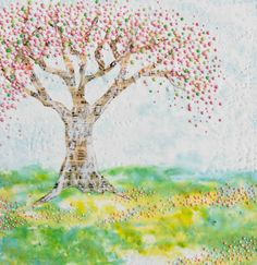 Spring Time Tree Art Print Mixed Media Art by susannajarian