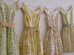 these dresses are made from vintage sheets.