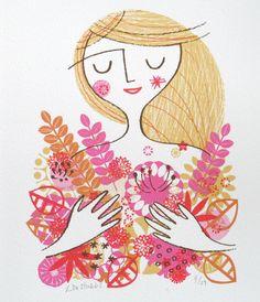 flower girl original screen print by lisa stubbs