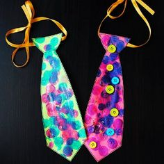 Silly Dad Ties are hilarious paper crafts for kids that help little ones make Father's Day crafts for Dad on his special day. They can decorate the funny paper ties and wear them around the house or give them to him as a special homemade gift.
