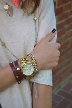 michael kors watch & stacked necklaces