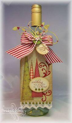 Cute wine bottle for Christmas gift