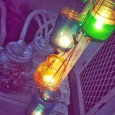 Greatfun4kids: jar lanterns tied in a bunch look very effective (using jute twine)