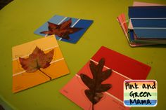 Pink and Green Mama: Colorful Fall Craft: Paint Sample Leaves