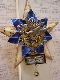 altered art Christmas tree decorations | Altered Art Assemblage French Christmas by GardenSpellGhostTale