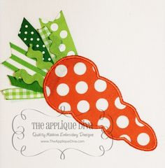 Easter carrot applique - love the ribbons at the top, cute idea!