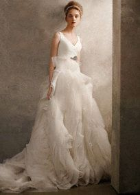 V Neck Ball Gown with Fully Draped Skirt Style VW351029 White by Vera Wang