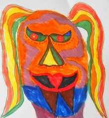 Maori Mask Copic Sketch Markers copyright 2012 by A. Dameron #art #drawing #30DaysofCreativity #30DoC #Day17