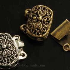 Filigree vintage look oxidized brass box clasps, pick your finish