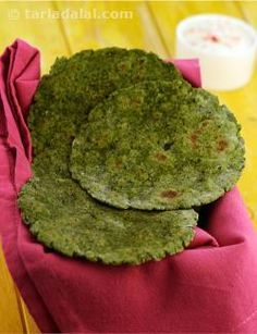 These soft rotis are best served with a thick dal or a subji. You can use other leafy vegetables or a combination of leafy vegetables like methi, mint etc. to enhance the nutritional value of these rotis.