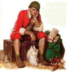 A 1944 painting is of a WWII Marine taking a break  from playing Santa Claus and delivering gifts to the troops.
