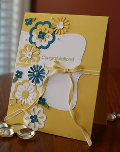 Cute top-note, Yellow and Blue Flowers card