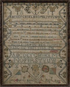 Pennsylvania silk on linen sampler, inscribed Agnes Irwin and dated 1778