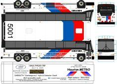 Houston Metro paper model bus transit image by METRObusfan. DIY paper craft