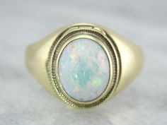 Antique Poison Ring in Fine Green Gold and Bright Opal RWAFEE - P