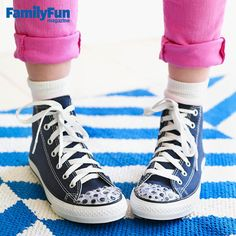 Accessor-eyes!: This shoe-decorating idea is truly visionary. To get the look, use strong glue (we like Crafter's Pick The Ultimate!) to attach googly eyes to sneakers with rubber cap toes, such as Converse.