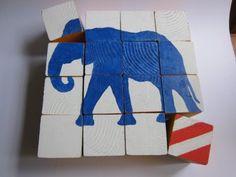 kids diy, puzzles, gift ideas, block puzzl, wood blocks
