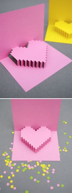 Pixelated Heart card... So sweet.