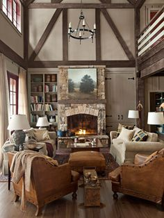 cabin, lake houses, dream living rooms, fireplac, decorating ideas, live room, lake house decorating, leather chairs, country