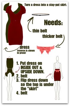 How to turn a dress into a skirt. I should try this!