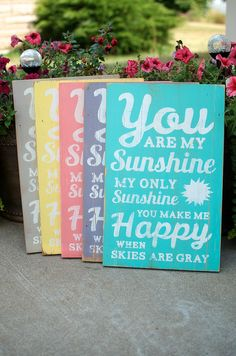 You Are My Sunshine Wall Art Distressed Subway Wood Sign on Etsy, $39.00 yellow or grey!