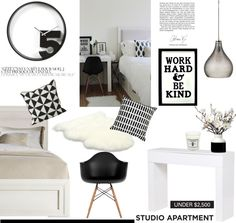 """Studio Apartment in Black and White"" by helenevlacho on Polyvore"