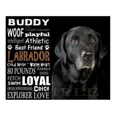 Black Labrador Retriever - Personalized 8x10 Unframed Dog Typography Art Photo.