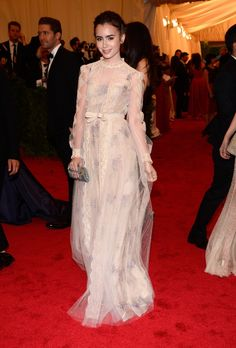 Lily Collins in Valentino at Met Gala 2012