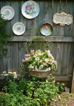 plate art, vintage plates, secret gardens, courtyard gardens, chair planter, vintage china, fences, old chairs, plate wall