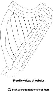Celtic harp coloring page or digital stamp