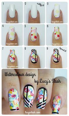 evening dresses, nail art tutorials, nailart, nail art designs, luci stash, nail arts, nails, floral dresses, watercolor tutorials