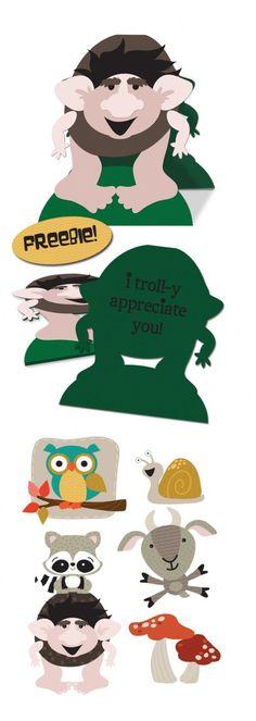Freebie Troll card with adorable troll pun ideas!