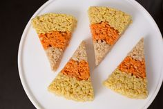 This recipe for Rice Krispie treats shaped like candy corn looks tasty, fun and not to difficult. I would probably skip the citrus zest though.