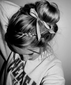 bow in hair, perfect braids, adorable hair styles, lazy hairstyles, bows hairstyles, cheerleading hairstyles, hairstyles messy, sock buns, braided hairstyles with bows