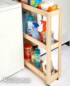 A lot of laundry rooms have a narrow wasted space either next to or between the washing machine and dryer, and it's usually a hideout for socks and lint. To take advantage of this space, build a simple plywood cart on fixed casters to hold detergents and other laundry supplies.