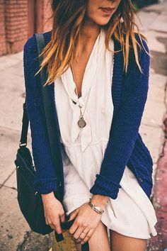 White dress + blue cardi