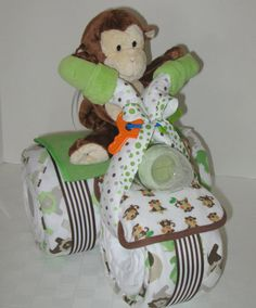 Diaper Cake,Tricycle, Trike, Baby Shower Gift , Jungle, Monkey, Centerpiece, Baby Cakes, Baby Boy via Etsy