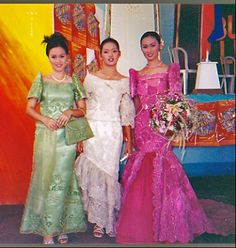 Traditional Filipino clothes the Baro't Saya, modern Maria Clara dress