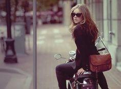 Vespa rider in the city.