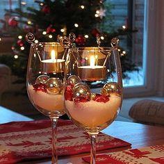 Christmas Table Decor Ideas - Tea Light Glasses - Click pic for 29 Christmas Craft Ideas