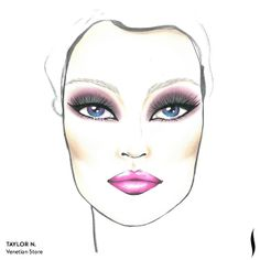 Winning SEPHORA + PANTONE UNIVERSE Face Chart Artistry Competition. Face chart designed by Taylor H. of Venetian Store. #Sephora #makeup #inspiration
