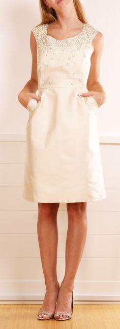 Kate Spade cream embellished cap-sleeve dress