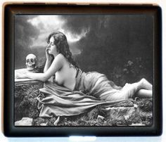 Nude Art Nouveau Edwardian Woman with Skull Black and white Version Cigarette ID Case Business Card Holder Wallet