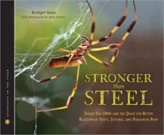 """Stronger than Steel by Bridget Heos; photographs by Andy Comins. Gr 4&Up Have you ever seen a """"spider goat?"""" What do you think it looks like? Actually, it looks the same as a regular goat on the outside, but on the inside the spider goat has one tiny spider gene that allows the females to produce spider silk proteins in their milk that can be used to make rope that's so strong it can stop a fighter jet!—Alison O'Reilly, Cutchogue New Suffolk Free Library, NY #sljbookhook"""