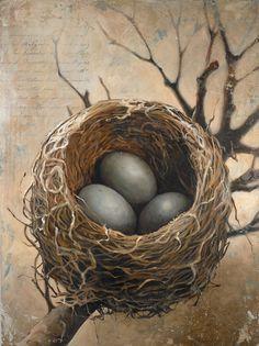 Bird Nest Painting / Nest Art / Robin Eggs