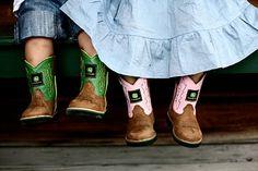 """John Deere....A little """"farmer"""" & """"farmette"""" dressed in their John Deere Boots ready for """"Work on the farm"""" <3"""
